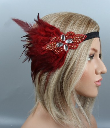 1920s Red Feather Great Gatsby Flapper Headpiece