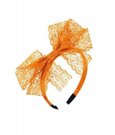 80s Party Lace Headband Orange
