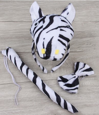 Zebra Headband Bow Tail Set Kids Animal Farm Zoo Party Performance Headpiece Fancy Dress Costume Kit Accessory