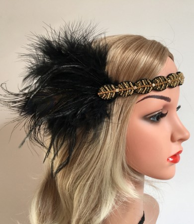 1920s Gangster Feather Vintage Bridal Great Gatsby Flapper Headpiece