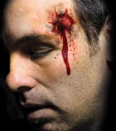 Men's Halloween Trauma Shot Stabbed Scary Face Temporary Tattoo