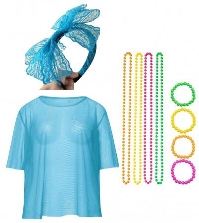 Blue Neon Fishnet Vest Top T-Shirt Set lx3013-5tt1017tt1050tt1048-8