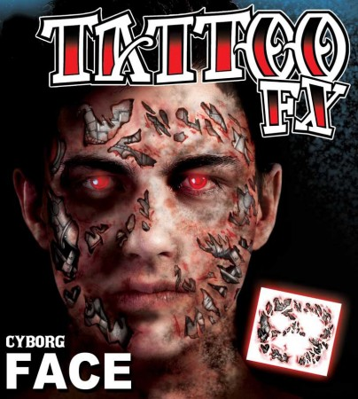 Men's Halloween Cyborg Scary Face Temporary Tattoo