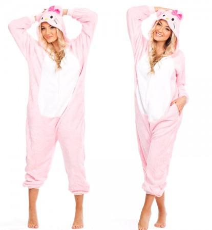 Onesies & Animal Costumes Australia - Pink Hello Kitty Onesie Animal Costume