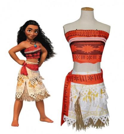 Moana Polynesia Princess Dress Kids Hawaiian Girls Costume