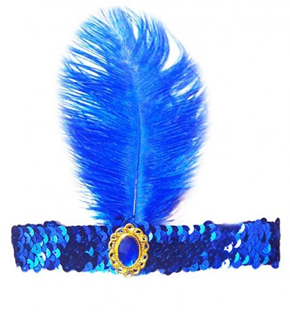 Blue 1920s Feather Great Gatsby Flapper Headband