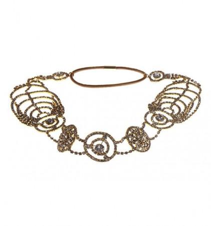 Gold Deco Vintage Hairband 20s  Flapper Chain Headband