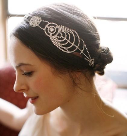 Silver Deco Vintage Hairband 20s Flapper Chain Headband