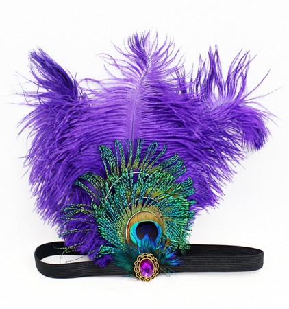 1920s Purple Feather Great Gatsby Flapper Headpiece