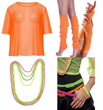 Orange Neon Fishnet Vest Top T-Shirt 1980s Costume  Plus Beaded Necklace Bracelet legwarmers gloves