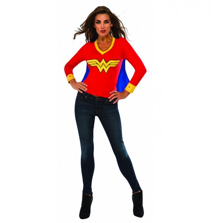 Womens Wonder Tshirt Mask Super Hero Justice League Fancy Dress Costume Outfit