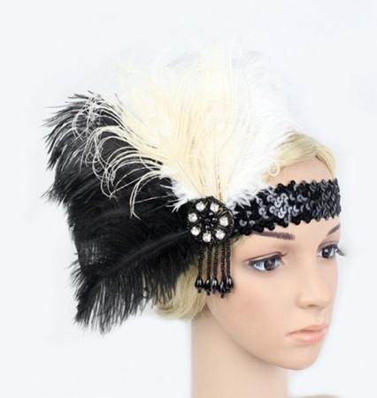 1920s White Black Feather Vintage Bridal Great Gatsby Flapper Headpiece