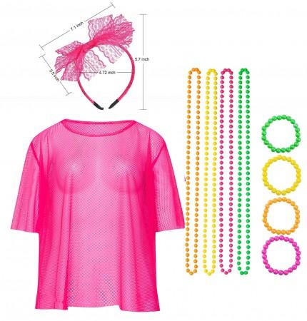 Pink Neon Fishnet Vest Top T-Shirt 1980s Costume Plus Beaded Necklace Bracelet lx3013-1tt1017tt1050tt1048-12
