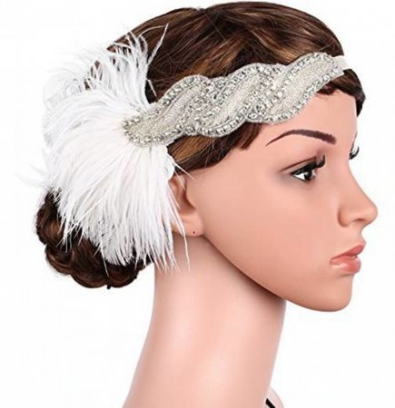 1920s White Feather Vintage Bridal Great Gatsby Flapper Headpiece