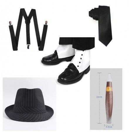 Black Mens 20s Gangster Set Hat Braces Tie Cigar Gatsby Costume Accessories