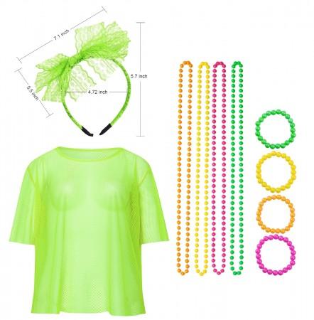 Green Fishnet Vest Top Set lx3013-7tt1017tt1050tt1048-9