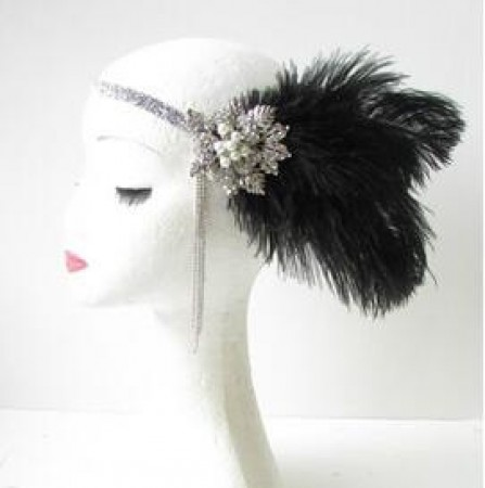 Vintage Black Great Gatsby Flapper Headpiece