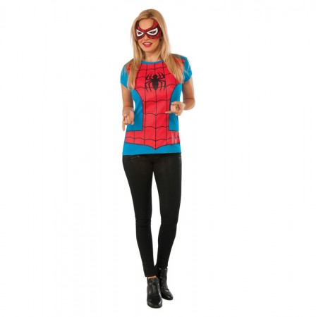Womens Spider Girl Tshirt Mask Super Hero Justice League Fancy Dress Costume