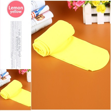 Lemon Yellow 80s 70s Disco Opaque Womens Pantyhose Stockings Hosiery Tights 80 Denier