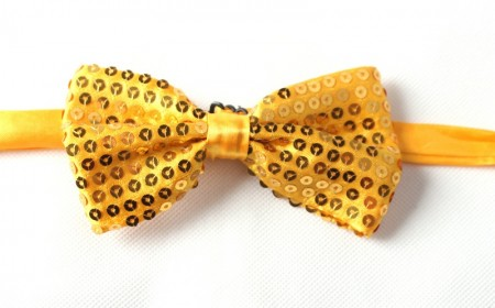 Gold Glitter Sequin Clip-on Bowtie Dance Party Bow Tie Costume Accessory