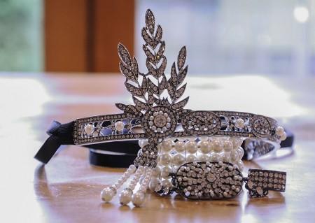 1920s Black Headband Bracelet Ring Set