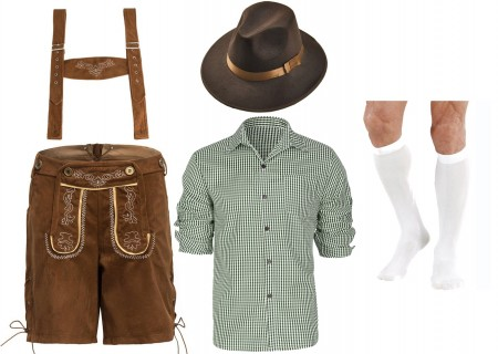 Mens Green Shirt with Brown Lederhosen German Costume full set lh220g+lh998+vzp305w