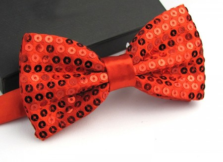 Red Glitter Sequin Clip-on Bowtie Dance Party Bow Tie Costume Accessory
