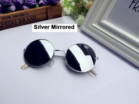 Silver Mirrored Sunglasses Retro 80s Round Frame