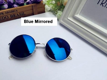 Blue Mirrored Sunglasses Retro 80s Round Frame