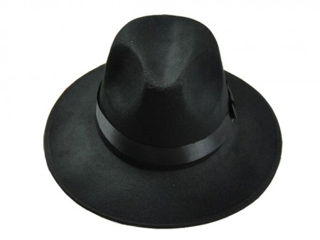 Gangster Hat Black Velour 20s Costume Accessories