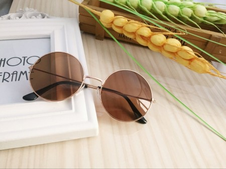 Brown Retro 80s Round Frame Sunglasses