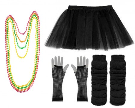 Black Coobey Ladies 80s Tutu Skirt Fishnet Gloves Leg Warmers Necklace