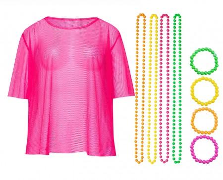 Pink Neon Fishnet Vest Top T-Shirt 1980s Costume Plus Beaded Necklace Bracelet