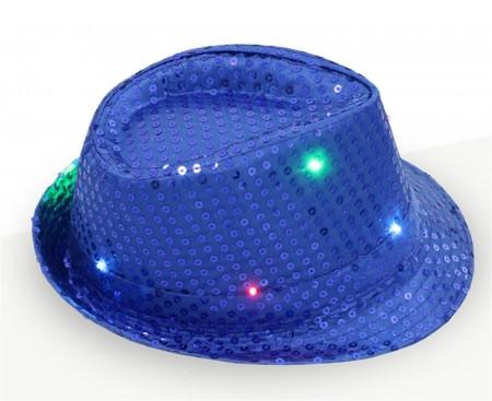 Kids Blue LED Light Up Flashing Sequin Costume Hat