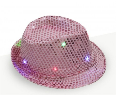 Adults Pink LED Light Up Flashing Sequin Costume Hat