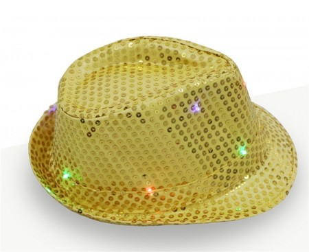 Adults Gold LED Light Up Flashing Sequin Costume Hat