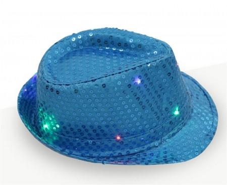 Adults Aqua LED Light Up Flashing Sequin Costume Hat