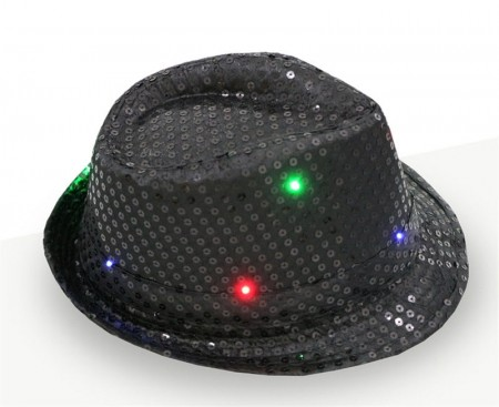 Adults Black LED Light Up Flashing Sequin Costume Hat