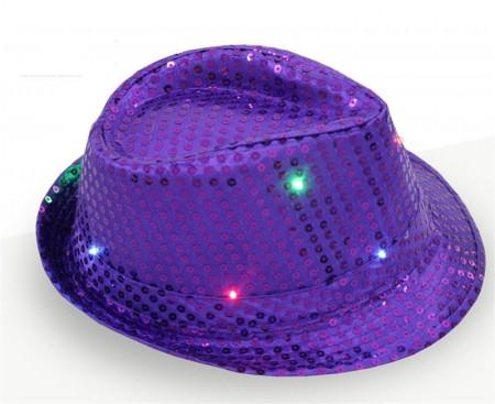 Adults Purple LED Light Up Flashing Sequin Costume Hat