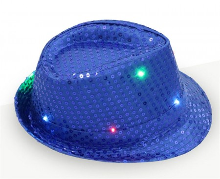 Adults Blue LED Light Up Flashing Sequin Costume Hat