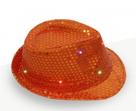 Adults Orange LED Light Up Flashing Sequin Costume Hat