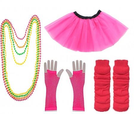 Dark Pink Coobey Ladies 80s Tutu Skirt Fishnet Gloves Leg Warmers Necklace
