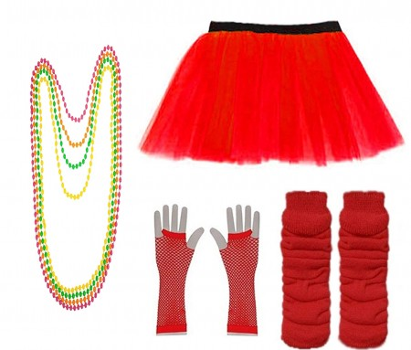 Red Coobey Ladies 80s Tutu Skirt Fishnet Gloves Leg Warmers Necklace