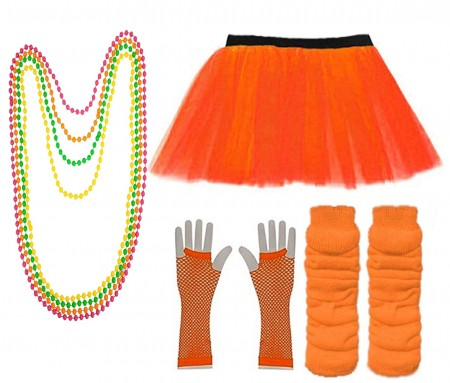 Orange Coobey Ladies 80s Tutu Skirt Fishnet Gloves Leg Warmers Necklace Dancing Costume Accessory Set