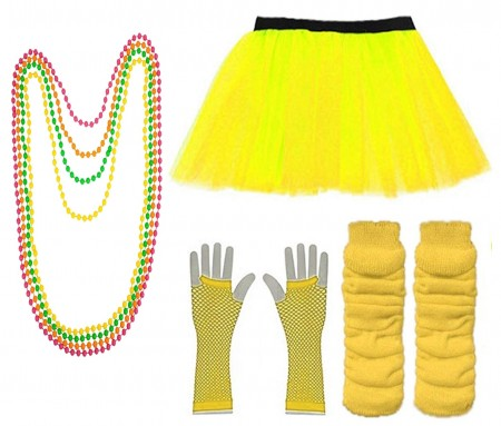 Yellow Coobey Ladies 80s Tutu Skirt Fishnet Gloves Leg Warmers Necklace Dancing Costume Accessory Set