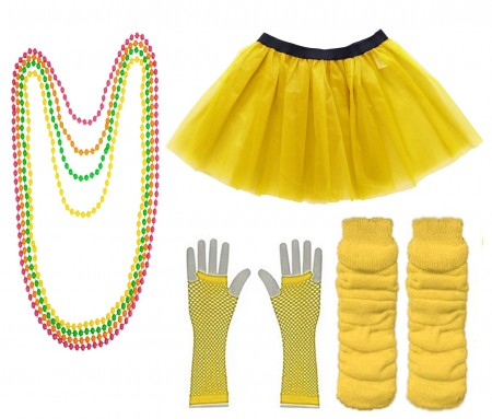Yellow Coobey Ladies 80s Tutu Skirt Fishnet Gloves Leg Warmers Necklace
