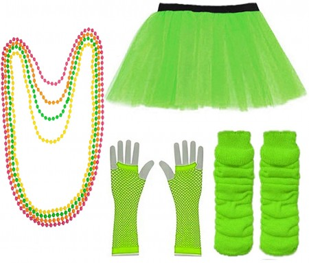 Green Coobey Ladies 80s Tutu Skirt Fishnet Gloves Leg Warmers Necklace