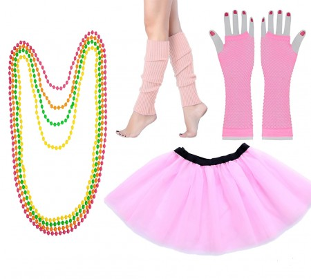 Baby Pink Coobey Ladies 80s Tutu Skirt Fishnet Gloves Leg Warmers Necklace