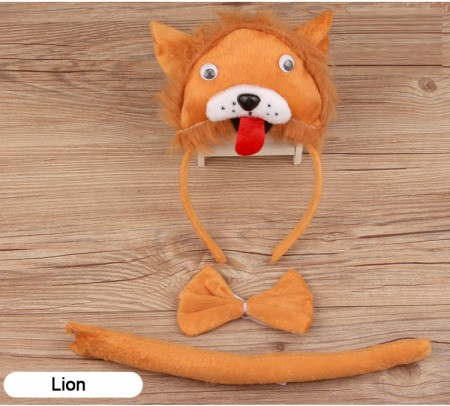 Lion Headband Bow Tail Set Kids Animal Farm Zoo Party Performance Headpiece Fancy Dress Costume Kit Accessory