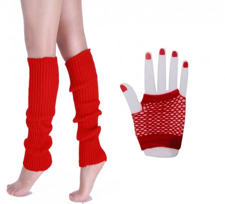 Red 80s Neon Fishnet Gloves Leg Warmers Accessory Set